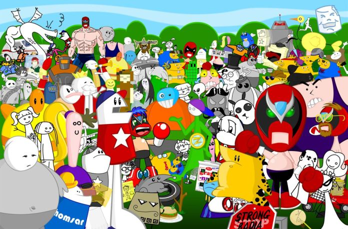 Homestar Runner characters stand on a field for a group shot waving hi
