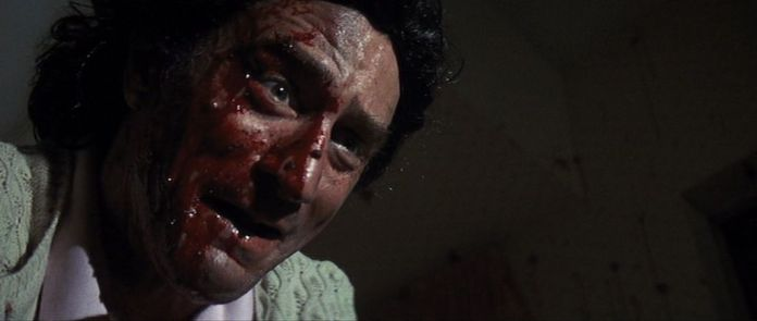 Robert De Niro in Cape Fear with blood on his face