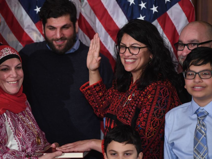 Rep. Rashida Tlaib (D-MI) at the ceremonial swearing-in of Speaker of the House Nancy Pelosi on January 3, 2018.