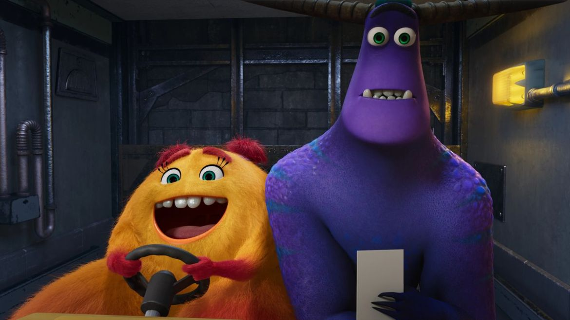an enthusiastic orange monster driving a golf cart with a very shocked looking purple monster