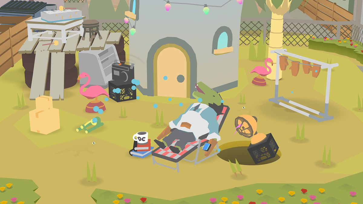 Donut County - guy passed out on a lawn chair in his yard