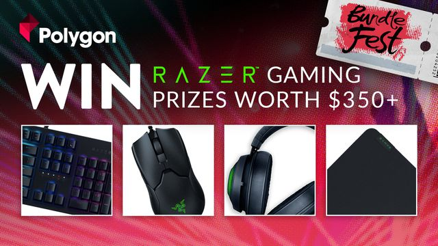 "a promotional image for Polygon and Fanatical's giveaway that reads ""Win Razer gaming prizes worth $350+"""