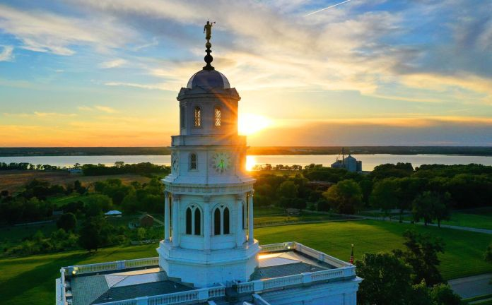 The Nauvoo Illinois Temple is pictured at sunset in Nauvoo, Illinois.