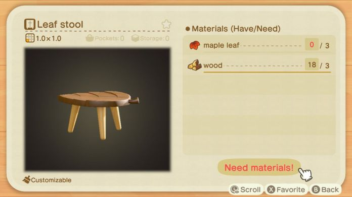 A recipe list for a Leaf Stool