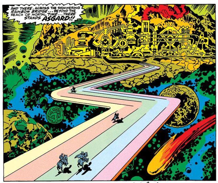 The rainbow bridge and approach to Asgard, Marvel Comics.