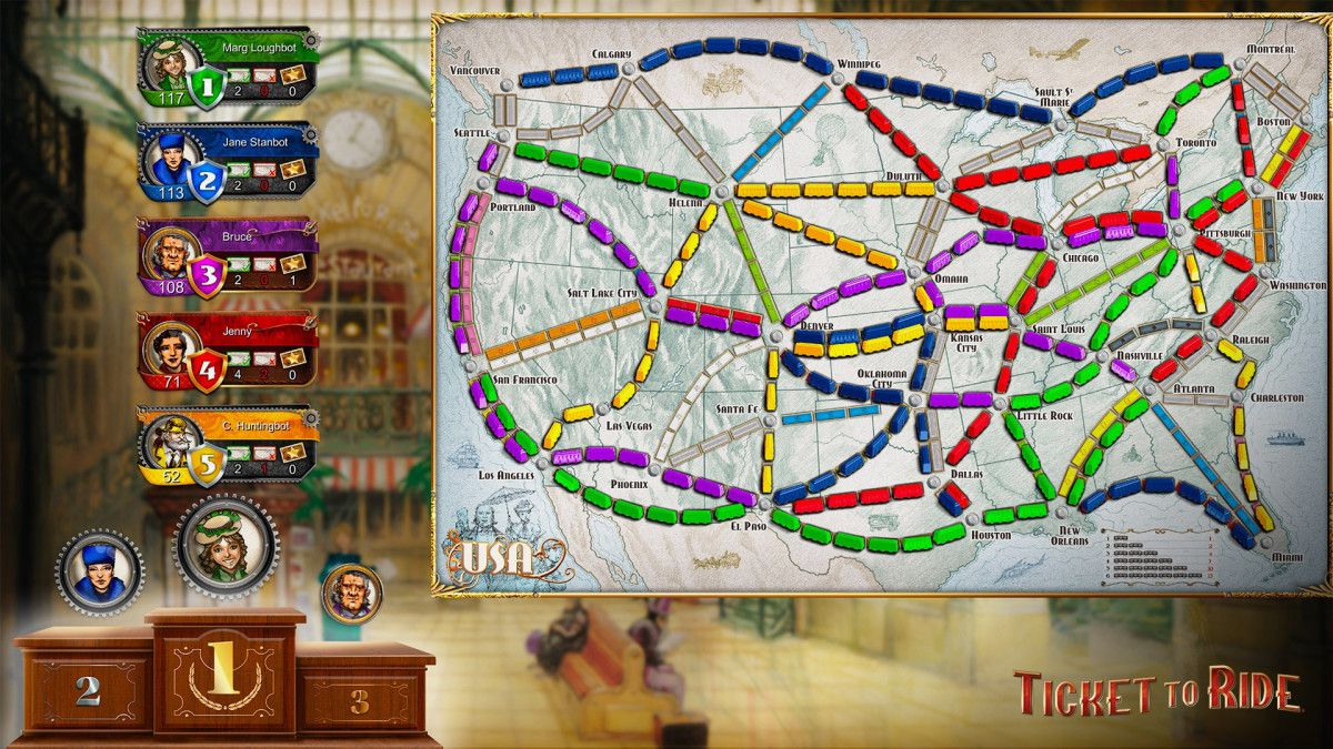 A look at the board of Ticket to Ride on Xbox consoles