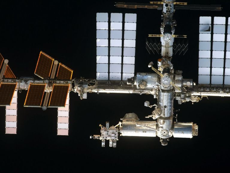 The International Space Station as seen from the space shuttle Discovery, on the shuttle's final mission, February 2011.