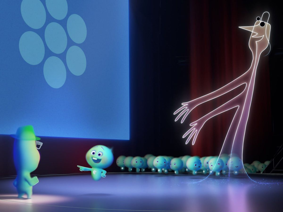 Small blue animated souls stand on a stage.