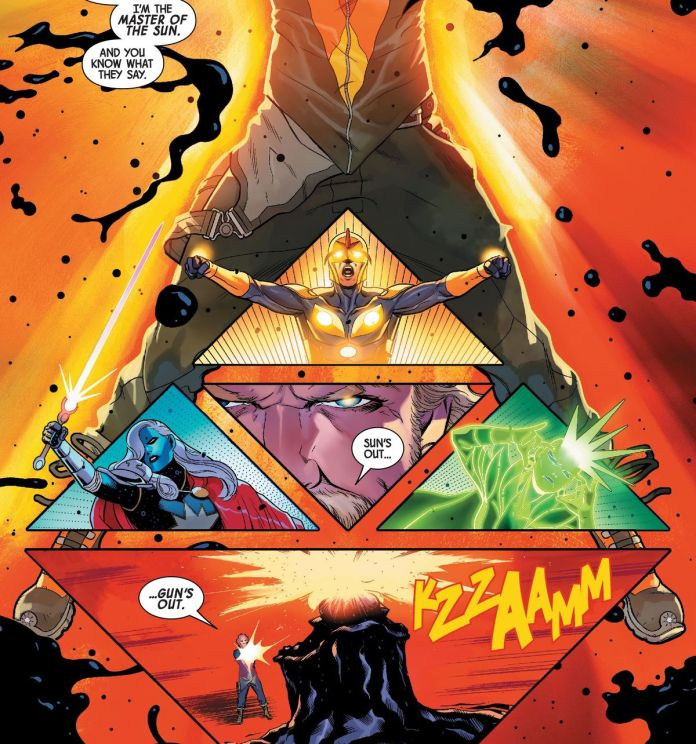 """""""I'm the master of the sun,"""" says Star-Lord, """"And you know what they say. Sun's out, gun's out,"""" as he shoots a god in the head in Guardians of the Galaxy #10, Marvel Comics (2020)."""