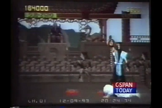 SubZero holding up Raiden's held with the spine still attached, shown on a TV during a 1993 hearing in the U.S. Senate on violence in video games