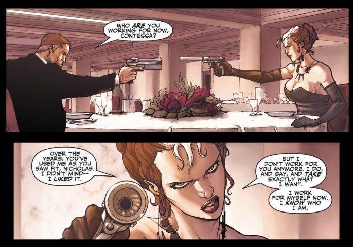 """""""Who are you working for now, Contessa,"""" Nick Fury asks Valentina Allegra de Fontaine. """"I work for myself now. I know who I am,"""" she answers, in Secret Warrios #3, Marvel Comics (2009)."""