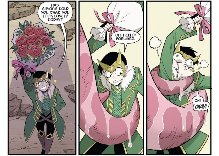 """Has anyone told you you look lovely today?"" Loki says, offering a bouquet of flowers to a large shadowy figure. A large pink slobbery tongue beings constricting him. ""Oh, hello! Forward. Oh! OKAY!"" he says as he is squeezed, eyes bugging out hilariously, in Thor & Loki: Double Trouble #2, Marvel Comics (2021)."