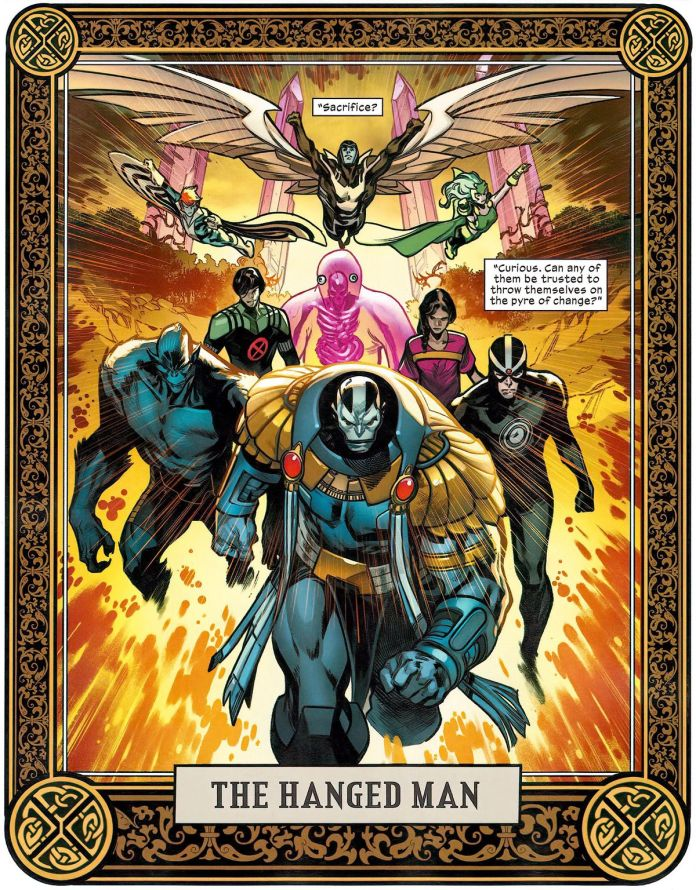 """Banshee, Angel, Rogue, Blob Herman, Beast, Havok, Apocalypse and more on a """"The Hanged Man"""" tarot card representing... something... for X- of Swords, in Free Comic Book Day X-Men, Marvel Comics (2020)."""