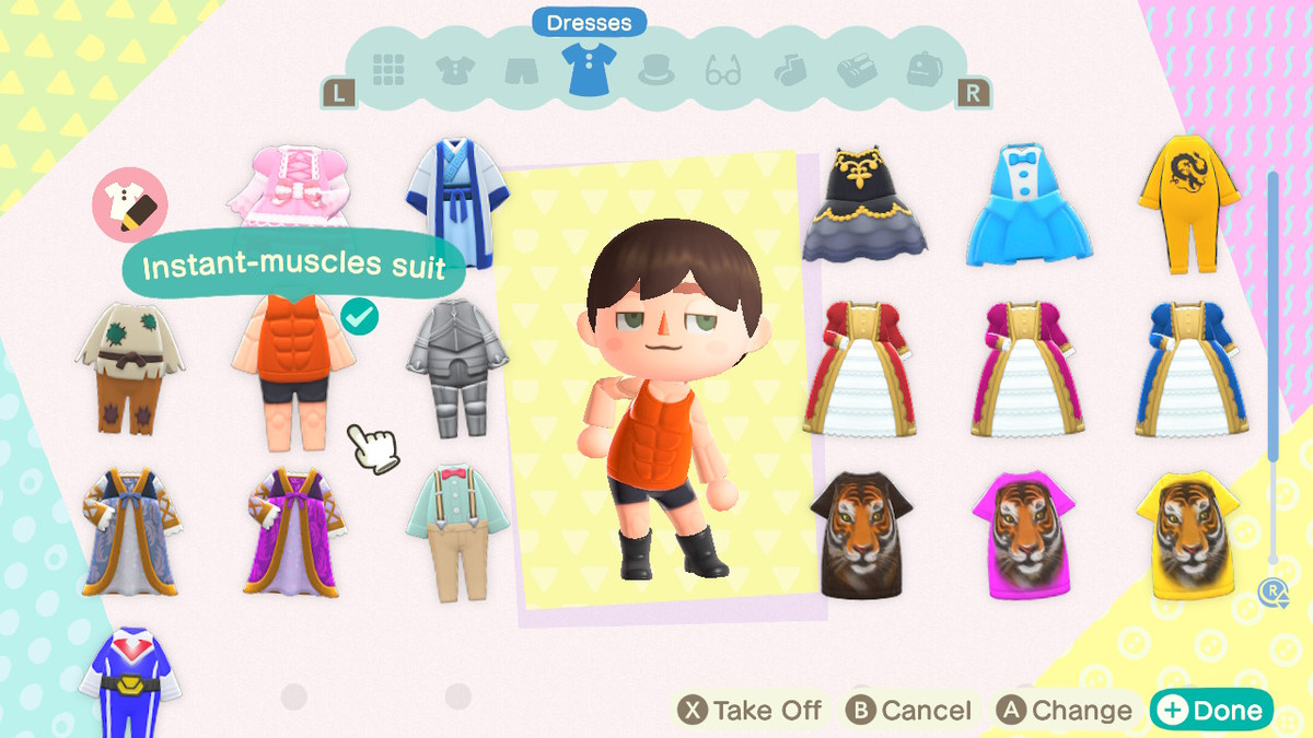 Animal Crossing: New Horizons - a player wears an instant muscle suit in their wardrobe