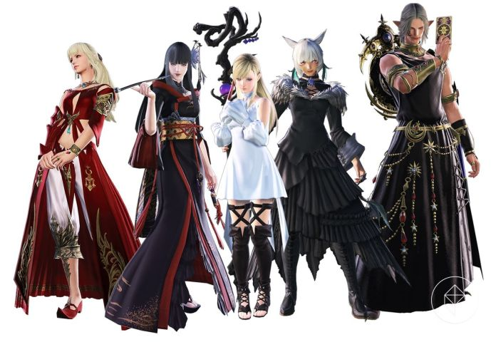 Lyse, Yotsuyu, Ryne, Urianger, and Y'shtola stand side-by-side
