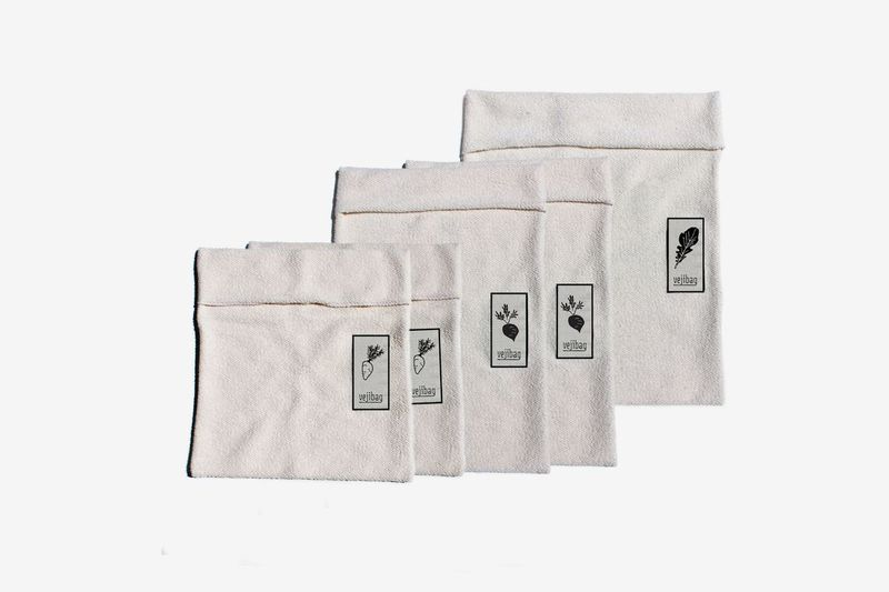 A set of white cloth bags