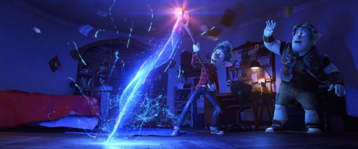 A skinny, blue-skinned animated teenage elf wrestles with a magical that's shooting a bolt of blue energy into the ground in his room, as his huskier elf brother looks on in surprise in Onward