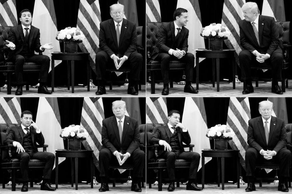 El presidente Trump habla con el presidente ucraniano Volodymyr Zelensky el 25 de septiembre de 2019.  Saul Loeb / AFP a través de Getty Images