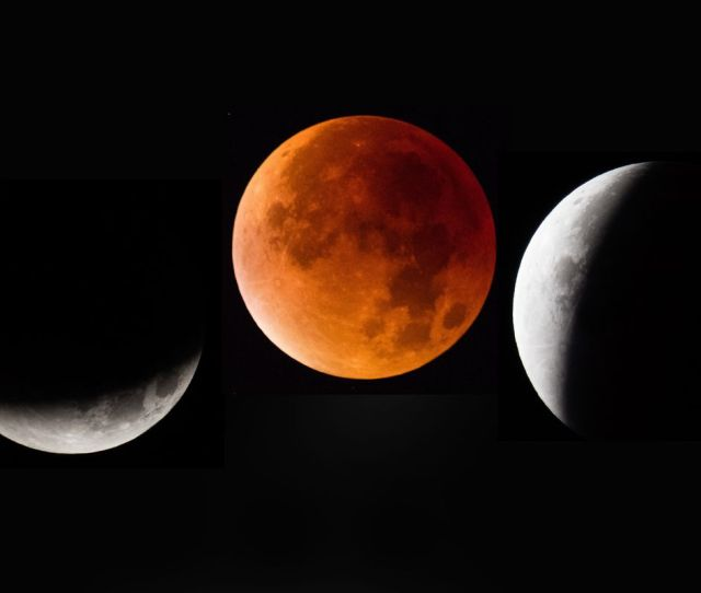 In This Composite Image The Moon Is Seen As It Enters And Leaves A Lunar Eclipse On September 28 2015 In Glastonbury England Matt Cardy Getty Images