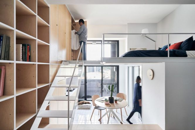 The Tiny Taipei Apartment Features White Tiling Birch Storage And A Floor To Ceiling Window Photos By Hey Cheese Via Dezeen