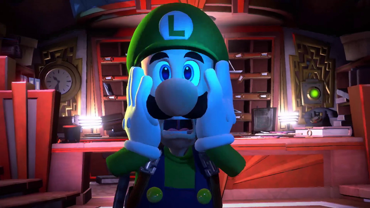 Luigi's Mansion 3 - Luigi with hands on the sides of his face