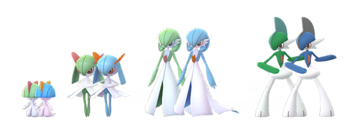 Shniy Ralts, Kirlia, Gardevoir, and Gallade, standing with their regular forms.