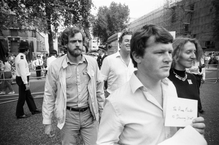 "Organizers of the ""British Out of Ireland"" march in London, England, including future Labour Leader Jeremy Corbyn (second from left), on August 18, 1984."