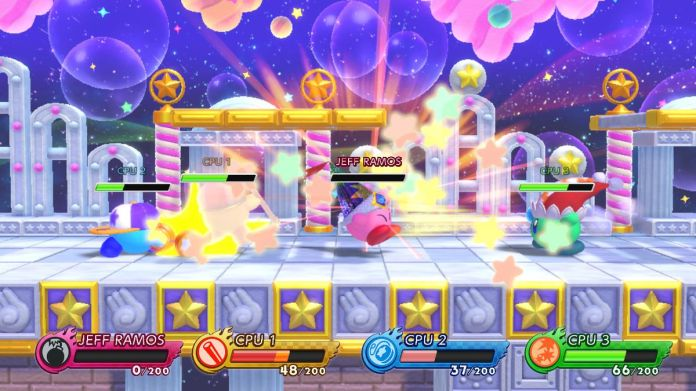 Four Kirbys are fighting in Kirby Fighters 2