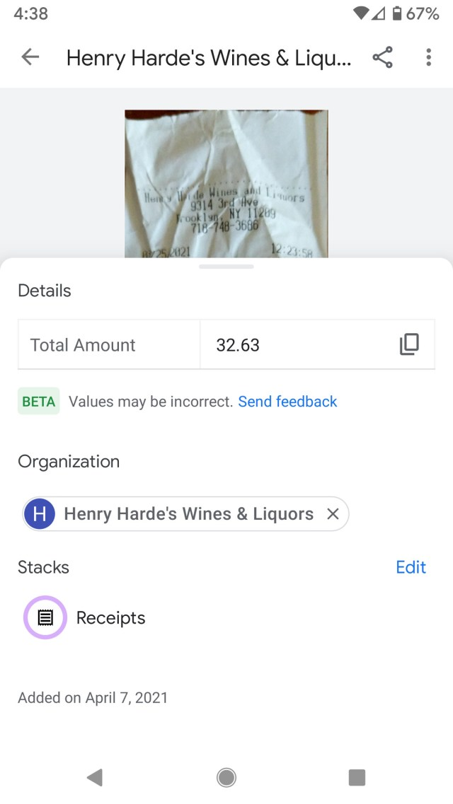 Stack's AI pulled out data even from a crumpled receipt.