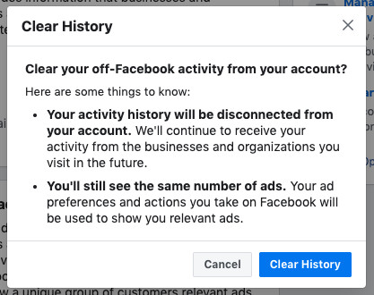 Facebook's clear off-Facebook activity history prompt