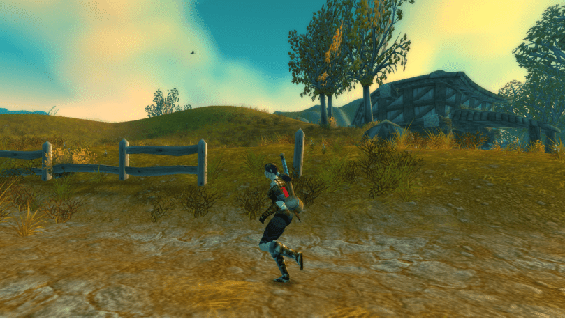 A human runs through the roads of Westfall in World of Warcraft.