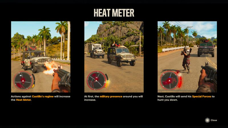 The in-game explainer for the Heat Meter in Far Cry 6
