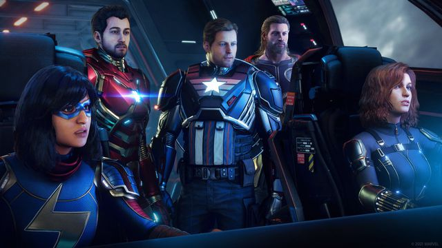 Ms. Marvel, Iron Man, Captain America, Thor, and Black Widow from Marvel's Avengers