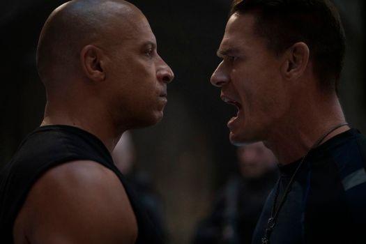 Dom (Vin DIesel) taking it as Jakob (John Cena) yells in his face in F9