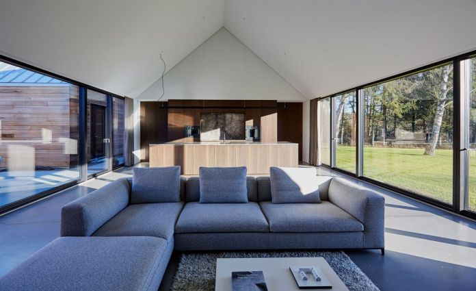 Из окон открывается вид на гостиную и кухню со скатной крышей, серыми секционными и стеклянными стенами с обеих сторон.