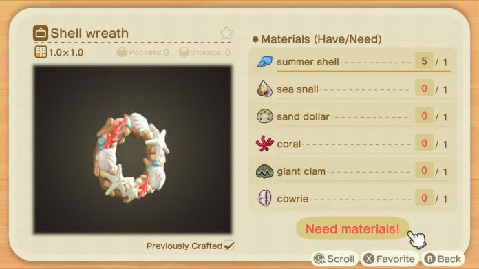 A recipe list for a Shell Wreath