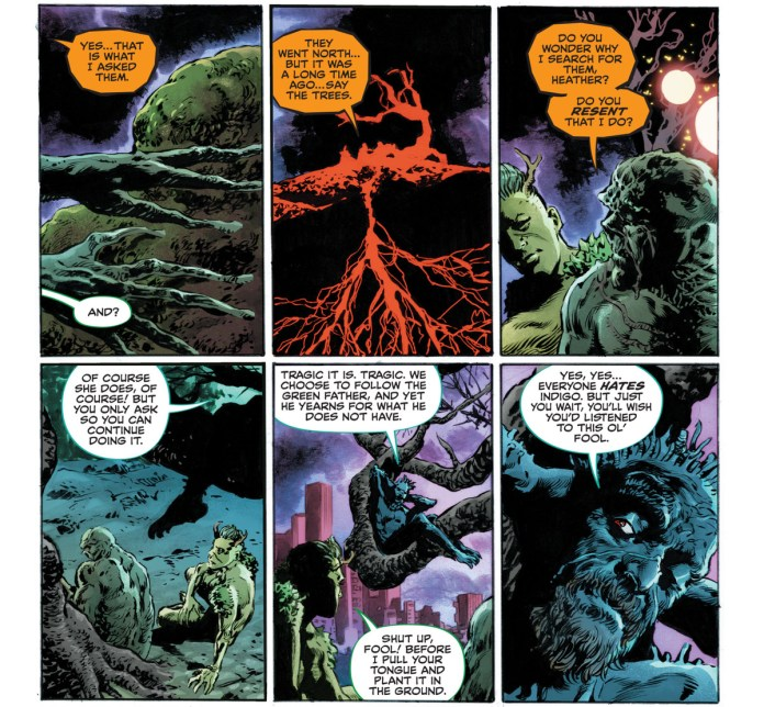 """""""Do you wonder why I search for [humanity], Heather? Do you resent that I do?"""" Swamp Thing asks one of his plant children. """"OF course she does. Of course! But you only ask so you can continue doing it,"""" replies another of his plant children, in Future State: Swamp Thing #1, DC Comics (2021)."""