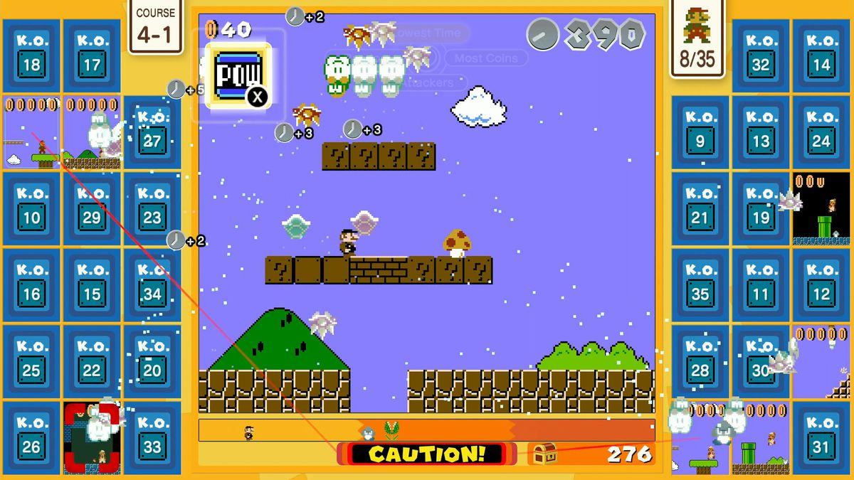 a screenshot of Super Mario Bros. 35 in which only seven of the 34 other players remain in Course 4-1
