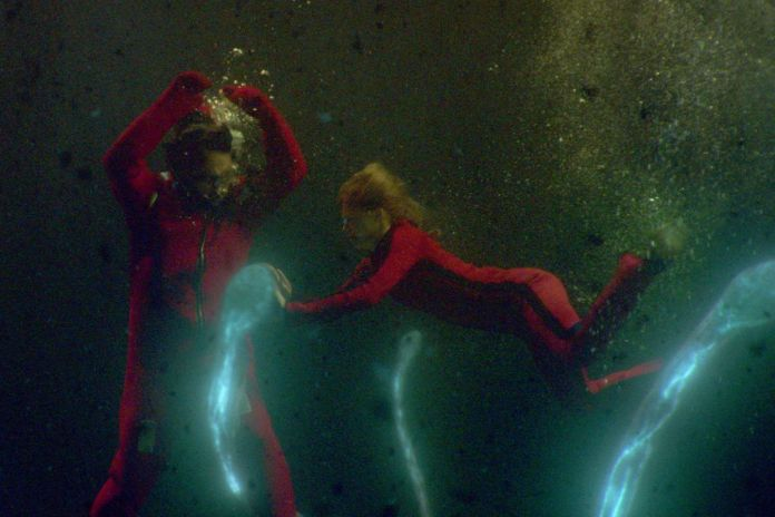 sea fever: two people struggling underwater with an alien!