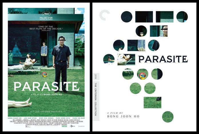 a two-panel image with the one-sheet movie poster for Parasite on the left and the Criterion Collection cover artwork on the right