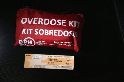 A box of the opioid overdose antidote, naloxone.