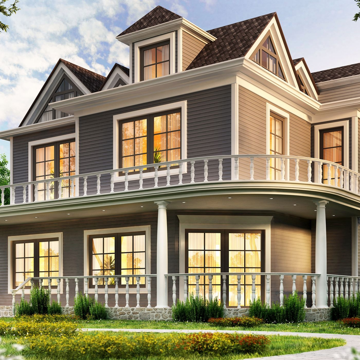 Planning Window Placement This Old House | Staircase Window Design Exterior | Round Shape Window | Car Parking | 2Nd Floor House Front Elevation | Section Window | Corner Window