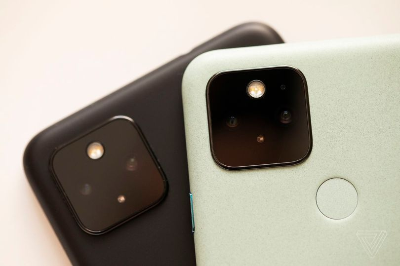 Both the Pixel 5 (top) and the Pixel 4A 5G (bottom) have regular and ultrawide camera