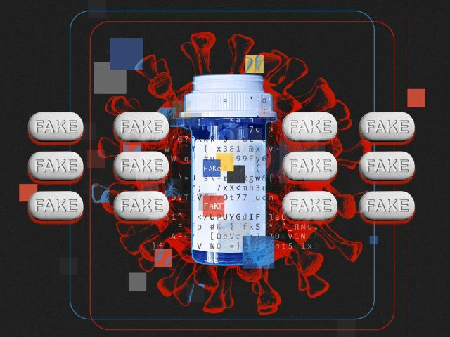 "Illustration featuring pills with the word ""FAKE,"" a blue pill bottle and a Corona-19 virus in the background"