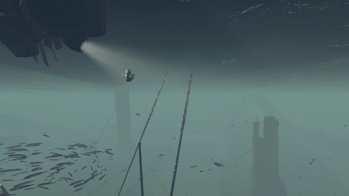 The main character floating beneath the waves.