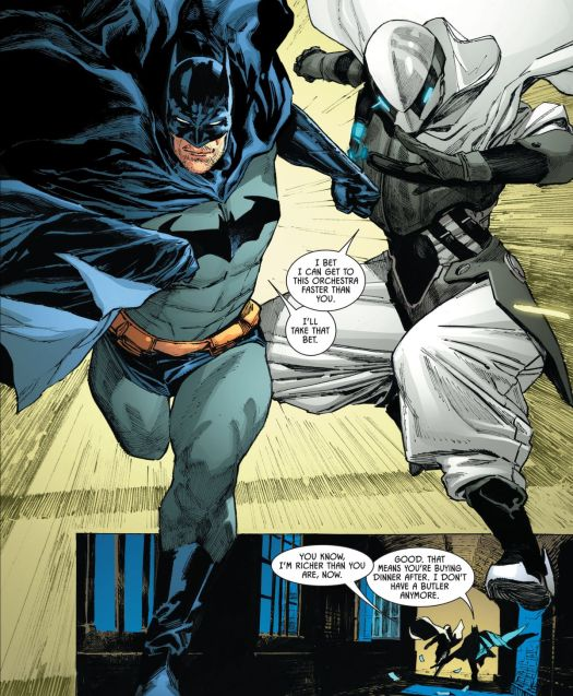Batman and Ghost-Maker dash off to rescue some hostages together, bantering, in Batman #105, DC Comics (2020).
