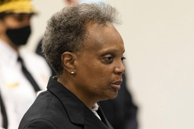 Mayor Lori Lightfoot speaks at a news conference Sunday after two police officers were shot in West Englewood.