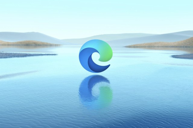 The Microsoft Edge logo hovering above a lake