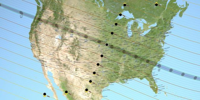 This NASA map of the United States shows the path of totality for the August 21, 2017, total solar eclipse.