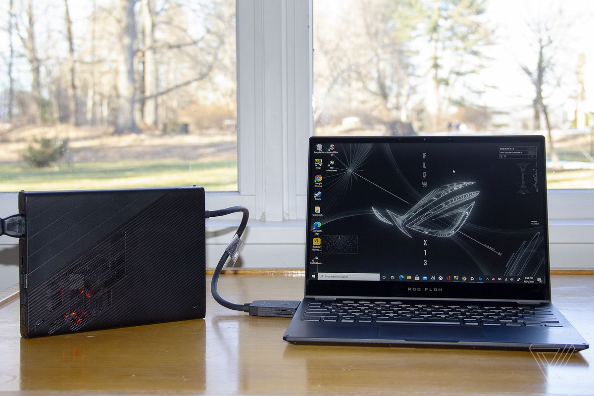 The Asus ROG Flow X13 connected to the XG Mobile.